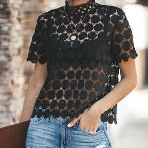 Sugar Lips short sleeve high neck crochet top